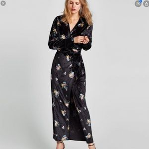 Zara | Velvet Floral Wrap Maxi Dress
